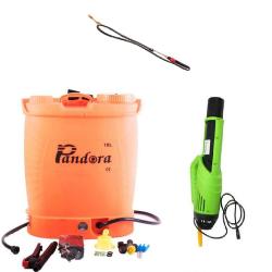 Pompa electrica pentru stropit cu acumulator, 18 litri, Pandora + Atomizor electric portabil Pandora + Lance extensibila telescopica Inox 230 cm