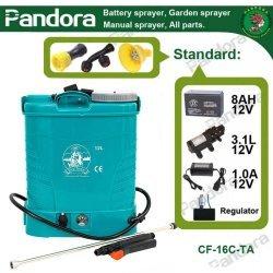 Pompa stropit electrica Pandora 12 Litri, 5 Bar, Model 2020 + regulator presiune, vermorel cu baterie acumulator