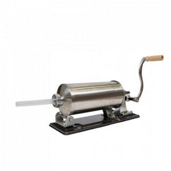 Masina manuala de facut carnati orizontala, inox , 4kg, 5 palnii incluse, Presa carnati
